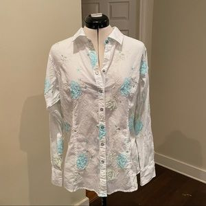 Ariat White Floral Embroidered Button Down, Sz L